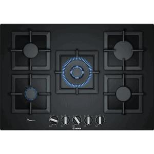 Plita incorporabila Bosch PPQ7A6B20, gas, 5 arzatoare, Arzator WOK, Gratare fonta, 75 cm, Sticla neagra
